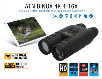 ATN BinoX 4K Smart Ultra HD Day/Night Binoculars Laser Rangefinder Video Wifi